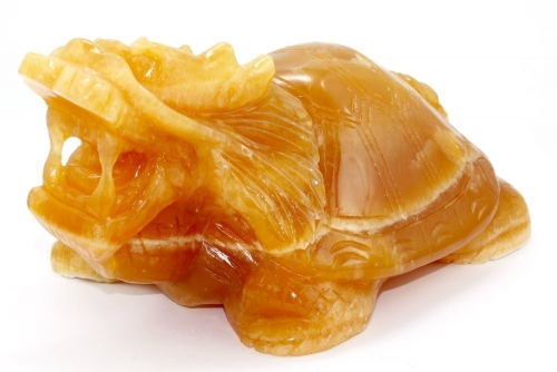 Orangencalcit Drachenschildkröte, Unikat ca. 23 x 14,5 x 10,5 cm groß, ca. 3,3 Kg