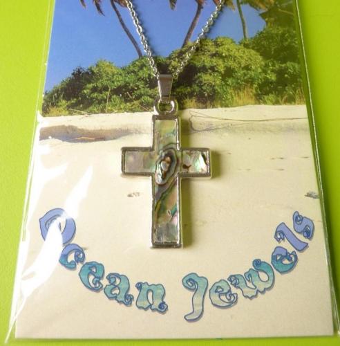 Kette Kreuz aus Paua Muschel