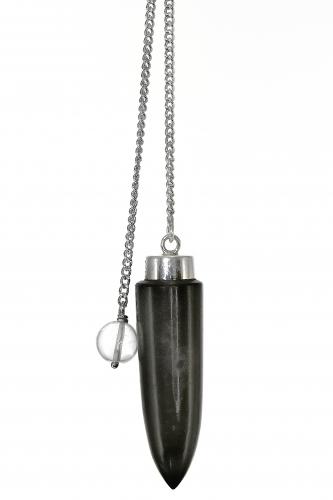 Edelsteinpendel Silberobsidian in 925er Silber