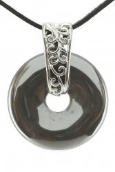 Hämatit Edelstein Donut Kette 35 mm, mit verziertem Schmuckhalter und Lederband