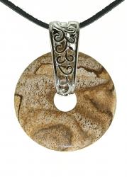 Landschaftsjaspis Edelstein Donut Kette 35 mm, mit verziertem Schmuckhalter und Lederband
