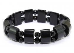 Edelsteinarmband Onyx, Halbzylinder und Kugeln Ø ca. 6 mm
