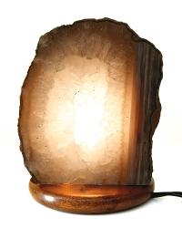 Edelsteinlampe Achat mit Bergkristall auf Buchesockel mit Elektrik, ca. 3,2 Kg