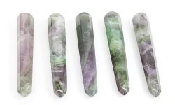 Regenbogen Fluorit Massagestab, Griffel, eine Seite rund andere spitz ca.10 cm