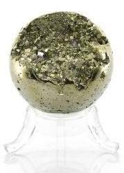Pyrit Kugel, Inklusive Plastikhalter, ca. Ø 47 mm, ca. 198 g