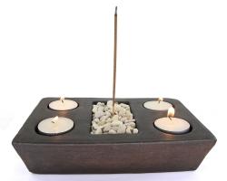 Räucherstäbchenhalter Set, Terrakotta mit Dekosteinen und Teelichter