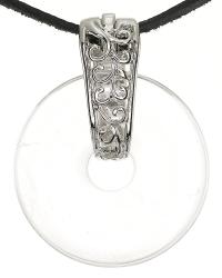 Bergkristall Edelstein Donut Kette 35 mm, mit verziertem Schmuckhalter und Lederband