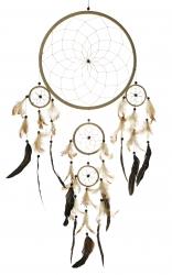 Traumfänger ca. 70 cm, mit Federn und 5 Ringen, Dreamcatcher