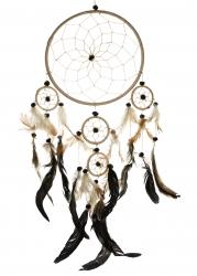 Traumfänger ca. 55 cm, mit Federn und 5 Ringen, Dreamcatcher