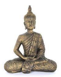 Thai Mönch Gold, Buddha, Meditation, Sandguß, ca. 29 x 22 x 9 cm, ca 1,3 Kg