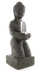 Skulptur Buddha mit Teelicht, Sandguß, ca. 38 cm, ca. 5 Kg