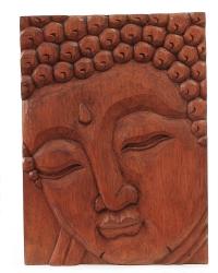 Buddha-Bild aus Suar Holz, ca. 38 x 28 x 3 cm, Handgeschnitzt in Bali / Indonesien