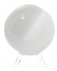 Selenit Edelsteinkugel ,Marienglas, polierte Kugel mit Ø 67 mm, mit Kugelhalter