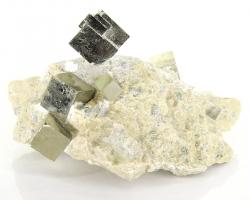Pyrit Würfel in Matrix, Kubischer Pyrit, Sammlerstück, ca. 4,5 cm