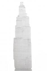 Selenit Turm, ca. 10 cm, Stufig geschnitten, geeignet für LED Untersetzer, Herkunft Marokko