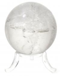 Bergkristall Edelsteinkugel Massagekugel,Ø ca. 40 mm, A-Qualität mit Kugelhalter