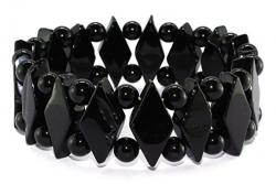 Edelsteinarmband Raute mit Kugeln, Onyx schwarz, mit Sternzeichenzuordnung