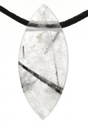 Edelstein Navette, mit Lederband, Edelsteinsorte Turmalinquarz, ca. 40 x 17 x 11 mm groß …