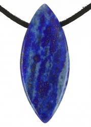 Edelstein Navette, mit Lederband, Edelsteinsorte Lapis Lazuli, ca. 40 x 17 x 11 mm groß …
