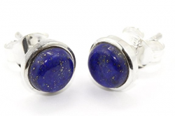 Ohrstecker Lapis Lazuli 8mm in 925er Silber gefasst, in Schmuckverpackung