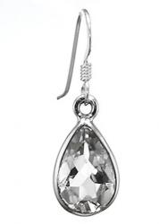 Bergkristall Tropfen facettierte Ohrhänger, ca. 12 x 10 mm, gefasst in 925er Silber, inkl. Schmuckverpackung