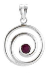 Rubin facettiert, 925er Silber in Schneckenform ca. 33 x23 x 7 mm