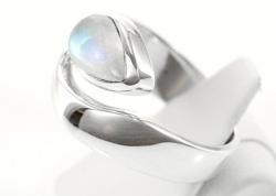 Mondstein/weißer Labradorit Ring 925er Silber, filigrane Handarbeit, Ringgröße 54, inkl. Schmuckverpackung