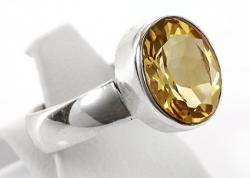 Citrin Ring facettiert, 925er Silber, filigrane Handarbeit, Ringgröße 54, inklusive Schmuckverpackung