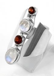 Extravaganter Granat, Mondstein / weißer Labradorit Ring, 925er Silber, Design, Handarbeit, Ringgröße 57, inkl. Schmuckverpackung