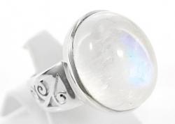 Mondstein / weißer Labradorit Ring, 925er Silber, filigrane Handarbeit, Ringgröße 56, inkl. Schmuckverpackung