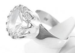 Bergkristall Ring facettiert, 925er Silber, großer Bergkristall, Handarbeit, Ringgröße 56, inkl. Schmuckverpackung