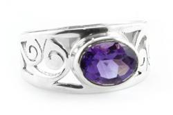 Amethyst Ring facettiert, 925er Silber, filigrane Handarbeit, Ringgröße 56, inkl. Schmuckverpackung