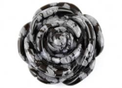 Schneeflocken Obsidian Anhänger, Rose Gravur 35 mm x 12, 5 mm
