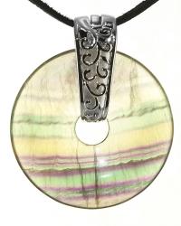 Fluorit gebändert Edelstein Donut Kette 40 mm, mit verziertem Schmuckhalter und Lederband