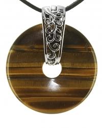 Tigerauge Edelstein Donut Kette 40 mm, mit verziertem Schmuckhalter und Lederband