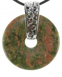 Epidot/Unakit Edelstein Donut Kette 40 mm, mit verziertem Schmuckhalter und Lederband