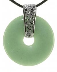 Serpentin Edelstein Donut Kette 40 mm, mit verziertem Schmuckhalter und Lederband