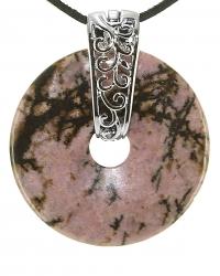 Rhodonit Edelstein Donut Kette 40 mm, mit verziertem Schmuckhalter und Lederband