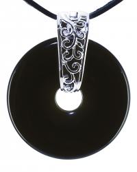 Onyx Edelstein Donut Kette 40 mm, mit verziertem Schmuckhalter und Lederband