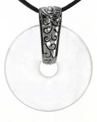 Bergkristall Edelstein Donut Kette 40 mm, mit verziertem Schmuckhalter und Lederband