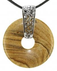 Landschaftsjaspis Edelstein Donut Kette 40 mm, mit verziertem Schmuckhalter und Lederband