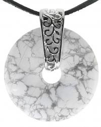 Howlith Edelstein Donut Kette 40 mm, mit verziertem Schmuckhalter und Lederband
