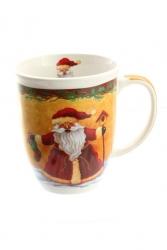 Keramiktasse Weihnachten, Winter, mit Innenmotiv, Höhe 11 cm, 400 ml, ø 9 cm (Motiv 2 Weihnachtsmann)
