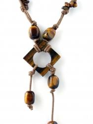 Kordelkette, Edelsteinkette, unterschiedliche Steinteile Tigerauge, ca. 45 cm