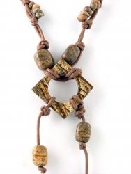 Kordelkette, Edelsteinkette, unterschiedliche Steinteile Landschaftsjaspis, ca. 45 cm