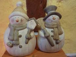 Schneemänner mit Mütze und Zylinder 15 cm