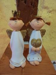 Lustige Engel Mädchen und Junge stehend 16 cm