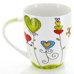 Becher Porzellan Herz-Design grün