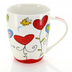 Becher Porzellan Herz-Design rot