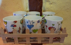 6er Set Becher Porzellan Herz-Design